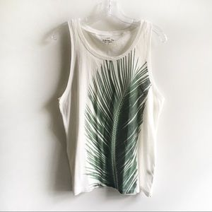 J. Crew Factory tank white palm tree sleeveless